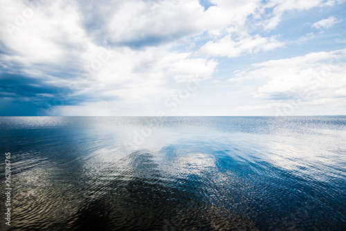A view of the Baltic sea against cloudy blue sky, Latvia