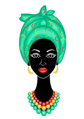 The head of a nice lady. On the head of an African American girl hung a bright handkerchief, turban. The woman is beautiful and stylish. Vector illustration.