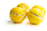 Moroccan preserved salted lemons isolated on white