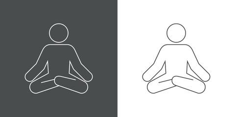 Icono plano lineal posición de yoga en gris y blanco