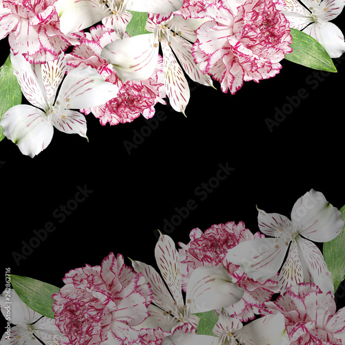 Beautiful floral background of Alstroemeria and carnations. Isolated - 262862716