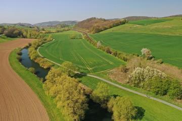 Leine Radweg Luftaufnahme