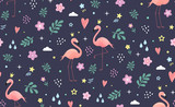 Flamingo with doodle style elements. Seamless vector pattern for textile, print or web design.
