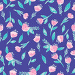 Pink watercolor flowers on blue background seameless repeat. - 262890751