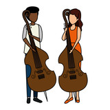 couple playing cello characters