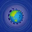 生き物たちの惑星と星の軌跡 - 262907160