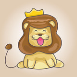 lion cartoon with crown
