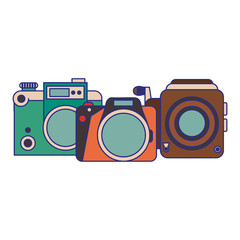 vintage cameras set cartoons blue lines