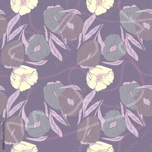 Vector illustration of stylized abstract poppies and tulips with multicoloured leaves. Seamless repeat pattern, tiled artwork. Perfect for gift, wallpaper, scrapbooking - 262920134