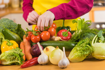 Many healthy colorful vegetables