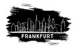 Frankfurt Germany City Skyline Silhouette. Hand Drawn Sketch.