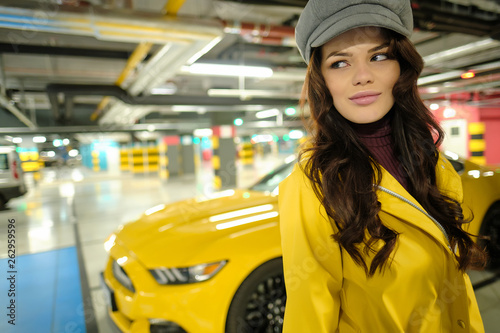 Driver Woman Next To The yellow sport Car - 262959596