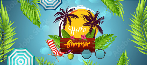 Summer time party poster design template. Flyer Design with typographic elements on wood texture background. Summer nature floral elements and sunglasses.  - 262961389