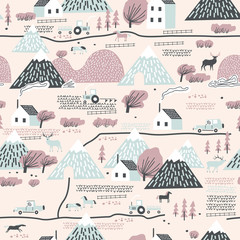 Seamless colorful pattern with house, trees, horses, mountains and hills. Perfect for kids fabric, textile, nursery wallpaper.