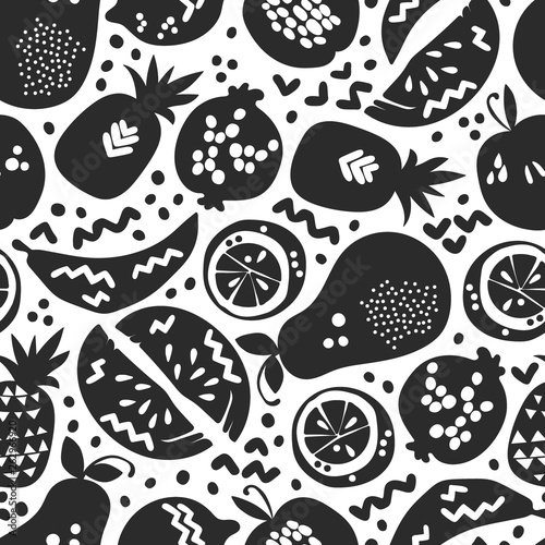 Fruits: apple, pear, orange, pomegranate, pineapple, watermelon. Seamless vector pattern (background, print). - 262966920