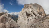 wide view on the werstern side of Sass de Putia in Dolomites
