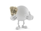 Golf ball character holding tickets
