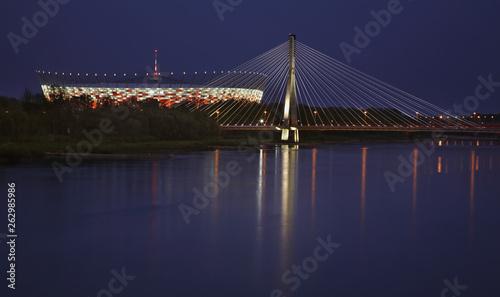 Swietokrzyski bridge and National stadium in Warsaw. Poland