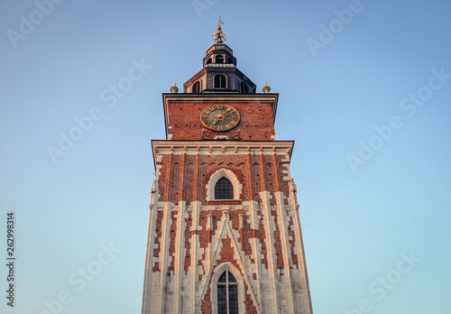 Town Hall Tower on a Main Market Square of Old Town in Cracow city in Poland