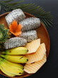 tropical fruits, pineapple, banana, dragon fruit