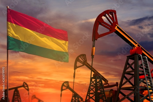 canvas print picture Bolivia oil industry concept. Industrial illustration - Bolivia flag and oil wells with the red and blue sunset or sunrise sky background - 3D illustration