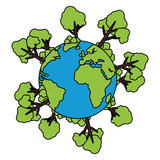 world planet earth with trees plants