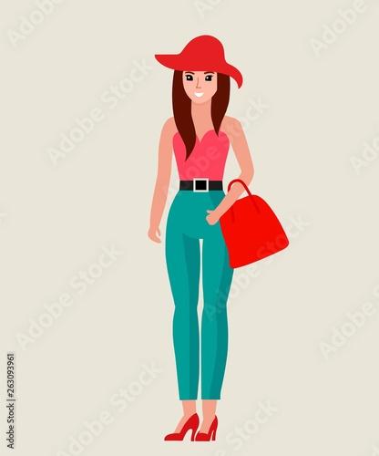 Beautiful fashion girl. Vector illustration
