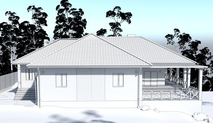 exterior of a country house, cottage, visualization, 3D illustration
