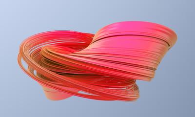 Abstract 3d render, twisted shape, modern illustration, background design