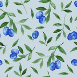 Olives with green leaves, watercolor painting backdrop - seamless pattern on light blue background