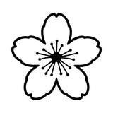 Cherry blossom flower or sakura line art vector icon for apps and websites