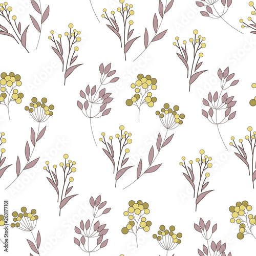 Texture with flowers and plants. Floral ornament. Original flowers pattern. - 263177181