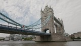 Wide angle view of the Tower Bridge in London