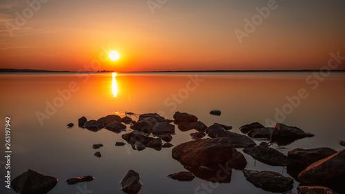 canvas print picture Sonnenuntergang am Steinhuder Meer
