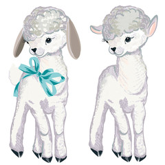 Collection of vector lamb for design in watercolor style