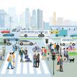 Stadt mit Verkehr und Fußgänger