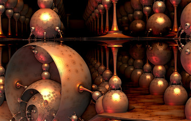 AAbstract background 3D, fantastic structures and shapes, fictional sci fi background.