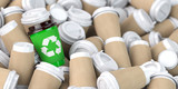 Recycling  sign on one of the heap of many empty paper coffee cups. - 263222373