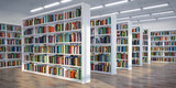 Library. Background from white  bookshelves with books and textbooks. Learning and education concept. - 263222377