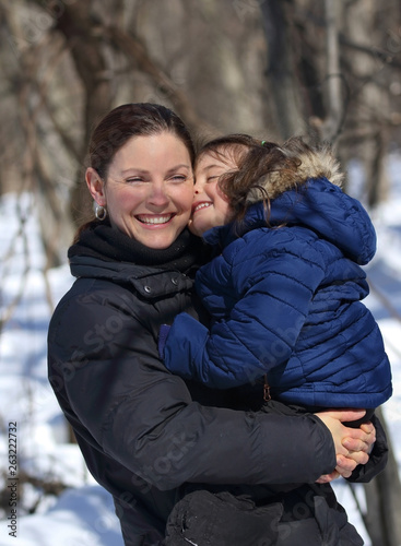 canvas print picture woman and child having fun outdoor