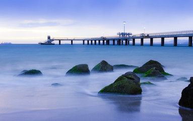 sunrise over bridge in the sea. Burgas bay
