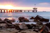 sunrise over bridge in the sea. Burgas bay