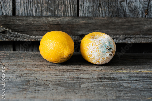 canvas print picture Fresh and rotten lemon. fruit with mold on wooden background