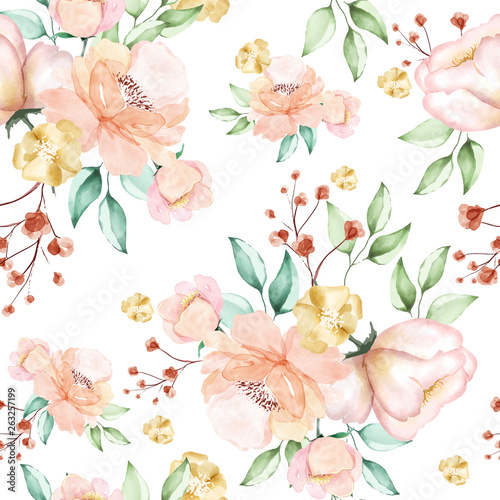 Beautiful watercolor floral seamless pattern - 263257199