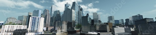 Beautiful view of the skyscrapers, modern city landscape, 3d rendering - 263306761