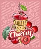 Cherry ice cream scoop in cones. Vector sketch illustration. Fruit ice cream idea, concept