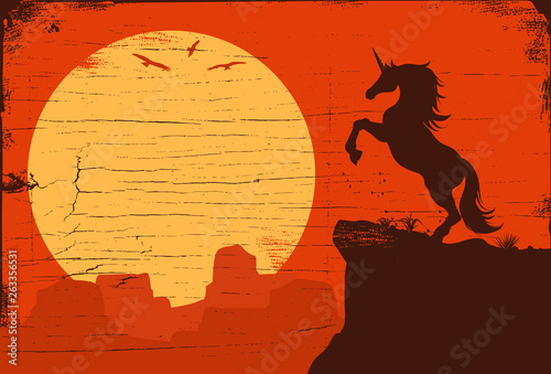 Silhouette of a skittish unicorn at sunset, vector illustration