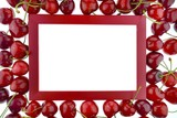 Cherry. Cherry frame. Red rectangular frame with large red cherries  isolated on white background. .top view, copy space.Summer berries.