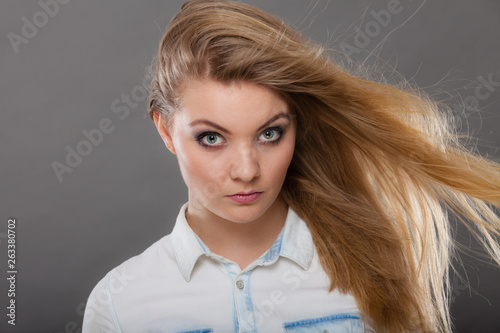 canvas print picture Attractive blonde woman with windblown hair