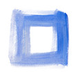 canvas print picture - Watercolor geometric hand-drawn square blue dry brush painted symbol on paper. Isolated on white.